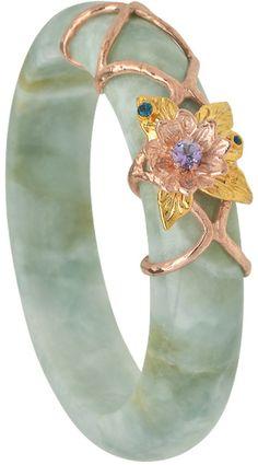 Choo Yilin Lotus Jade Bangle. BEAUTIFUL. I love jade