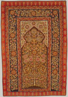 Hanging. 19th century Iran, Rasht. Wool plain weave, joined, embroidered. Chain stitch (gulab-duzi) was used in Persian embroidery. Caspian city of Rasht knowt to have supplied Safavid court at Ardebil and excelled at the art. Meditative tree design.  Met Museum