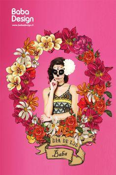Vertical Forex Spring Summer 2016 #frida #khalo #skull #flowers #springsummer2016 #collection #babadesign #baba #design Spring Summer 2016, Mexico, Skull, Disney Princess, Flowers, Collection, Design, Fashion, Frida Khalo
