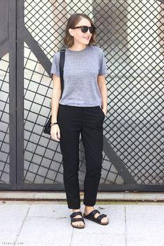 Trini | The Kooples black trousers American Apparel tshirt Birkenstock sandals Anya Hindmarch bag