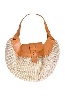 crochet purse with leather top