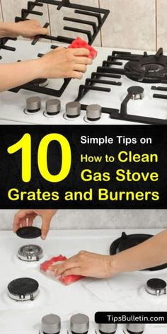 10 Simple Ways to Clean Gas Stove Grates - Discover how to clean gas stove grates naturally, without ammonia. Get your cast iron stove grates and stainless steel burners looking like new with vinegar and baking soda, and make your kitchen shine! Clean Gas Stove Top, Gas Stove Cleaning, How To Clean Burners, Clean Stove Burners, Gas Stove Burner, Toilet Cleaning, Kitchen Cleaning, Cleaning Cast Iron, Cleaning Oven Burners