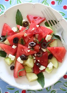 Chilled Watermelon, Cucumber Mint, Olive and Feta Salad by s kinnytaste: It's that salty-sweet thing going on here that's so good. #Salad #Watermelon #Cucumber #Mint #Olive #Feta #Healthy #Light