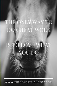 The only way to do great work is to love what you do - The Equestrian Stop Equestrian Quotes, Equestrian Problems, Equine Quotes, Cowboy Quotes, Cowgirl Quote, Inspirational Horse Quotes, Horse Riding Quotes, Country Girl Quotes, Southern Quotes