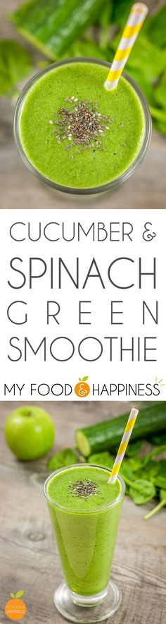 Fresh 3 ingredient low-sugar green smoothie with Cucumber, Spinach & Apple/Kiwi. A delicious fruit and veggie combo and you probably already have all 3 ingredients available!