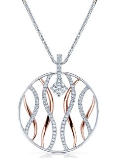 Diamond Wave Circle Pendant by Elma Gil - Wavy lines, both in white gold and lined with diamonds and in plain rose gold, sit inside the open circle shape of this 18k pendant, with 0.41 cts. t.w. Round diamond at bail not included, price does not included center stone. MSRP: $2,850