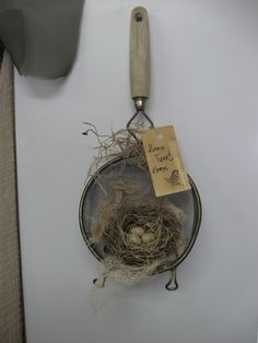 Treasures from the Heart Store: Strainer Bird Nest This is about (total heig. - Treasures from the Heart Store: Strainer Bird Nest This is about (total height) and wide - Bird Nest Craft, Bird Crafts, Nature Crafts, Easter Crafts, Bird Nests, Primitive Crafts, Vintage Crafts, Vintage Decor, Spring Crafts
