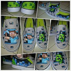 Custom Painted Minecraft Shoes by ModernFymyKicks on Etsy Minecraft Shoes, Minecraft Outfits, Minecraft Clothes, Minecraft Stuff, Minecraft Ideas, Painted Canvas Shoes, Painted Clothes, Hand Painted Shoes, Painting Minecraft