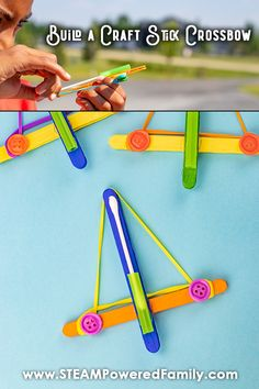 Build a Craft Stick Crossbow - Summer STEM and Engineering at it's best! Challenge your summer campers to build a craft stick cr - Summer Crafts For Kids, Summer Activities For Kids, Fun Crafts For Kids, Stem Activities, Diy For Kids, Fall Crafts, Teen Crafts, Stem Projects For Kids, Christmas Crafts