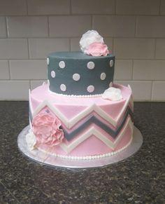 Pink & grey chevron & polka dot baby shower cake