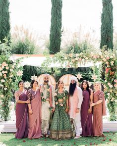 This Couple Planned a Colorful Indian Wedding in San Miguel, Mexico The destination nuptials blended cultural traditions thanks to beautiful scenery, custom décor, and local florals. Wedding Dress, Desi Wedding, Indian Wedding Bridesmaids, Indian Weddings, Indian Fusion Wedding, Indian Destination Wedding, Peach Weddings, Desi Bride, Traditional Indian Wedding