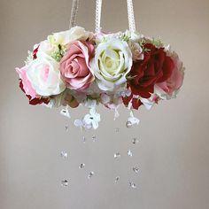 Flower mobile with genuine Swarovski crystals, Flower mobile, Baby mobile / Crib mobile, Vintage inspired, Wedding chandelier
