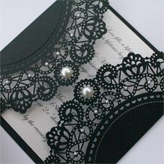 Black lace wedding invitation with pearl details. I seriously need an infinite amount of money so I can have everything I want at my wedding. ESPECIALLY these invitations! For A Wedding,The Day I Say I Do,Tying the kn Doily Invitations, Lace Wedding Invitations, Wedding Stationary, Wedding Cards, Wedding Events, Our Wedding, Dream Wedding, Invitation Cards, Invitation Ideas