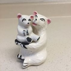 Vintage Polar Bear with Baby Cub Salt and Pepper Shakers Japan.