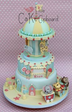 Birthday or Baby Shower Cake - A lot of work must have went into this carousel animal themed cake
