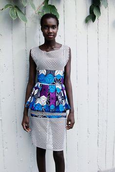 Talia Mesh Ankara Peplum Dress