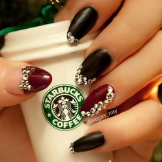 ..anyone else still have their Christmas Tree up? This has to be my favorites decoration i bought last year at #starbucks. it's also a sad reminder that my FAVORITE pumpkin spice latte's are coming to an end! Anyhow, I gave matte black nails a try with some added bling and a dash of burgundy for the New Year - @vegas_nay- #webstagram