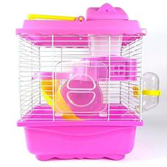 LPET Hamster Habitat Mice Cage Gerbil Rats Playhouse Houses Slides Condos with Drinking Bottle (Pink) -- Awesome products selected by Anna Churchill