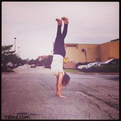 Handstand in the middle of the parking lot? Suuuuure, why not? :)