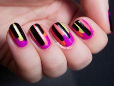 Neon Block Drips - Color Club Poptastic Remix Nail Art