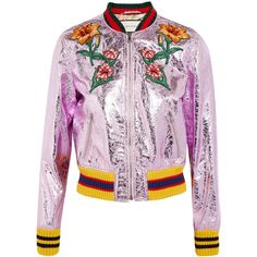 Gucci Appliquéd metallic textured-leather bomber jacket ($2,700) ❤ liked on Polyvore featuring outerwear, jackets, gucci, bomber, bomber jacket, lilac, flower print bomber jacket, zip jacket, embroidered jacket and embroidered bomber jacket
