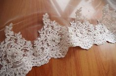 pearl beaded lace trim bridal lace trim ivory alencon by LaceFun