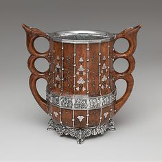 2 Handled Loving Cup, Tiffany & Co., circa 1893. Wood, silver, mother of pearl and turquoise. (shown at Chicago 1893 Columbian Exhibition)