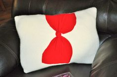 RYLO Beautiful cream cashmere pillow with Bright Red Bow by RYLOwear, $28.95