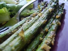 Roasted Asparagus with Parmesan. I had this last night and Sheldon even liked it!