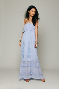 Candela Maddie Embroidered Silk Maxi at Free People