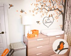 Tree wall decal Nursery wall decor corner tree decal sticker with birds and personalized heart name large wall art tattoo decoration Baby Nursery Bedding, Baby Nursery Decor, Nursery Wall Decals, Vinyl Wall Stickers, Wall Decal Sticker, Nursery Nook, Tree Wall Murals, Tree Decals, Mural Wall Art