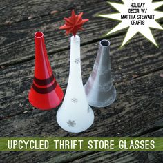 #MarthaHolidayPaint #Upcycle Thrift Store Glasses to Whimsical #ChristmasDecor @savedbyloves