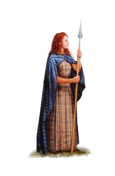 An iron-age Celtic woman Celtic Clothing, Celtic Dress, Celtic Warriors, Celtic Culture, Warrior Queen, Irish Celtic, Period Outfit, Iron Age, Picts