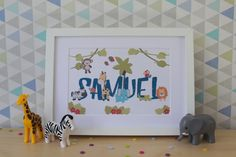 Personalised 'Jungle' childrens name print, personalised baby name gift, Nursery decoration by JaneandLouiseCrafts on Etsy