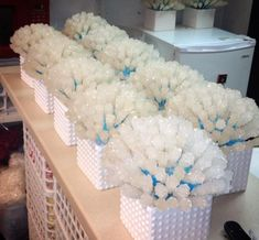 Super cute rock candy centerpieces ( I like this for a winter or Christmas party, not a wedding)