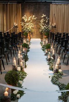 20 breathtaking wedding aisle decoration ideas to steal wedding aisle treatment with seeded eucalyptus garland and moss balls photo by http junglespirit Gallery