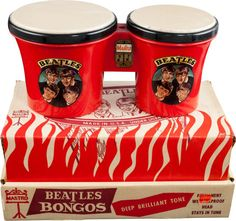 Beatles Beat Bongos, Mastro No. Super-Rare, with Original Display Box. Not a reproduction as usually - Available at 2014 August 23 Entertainment &. Old Dolls, Display Boxes, Coffee Cans, The Beatles, Rock And Roll, Beats, Auction, Entertaining, Album