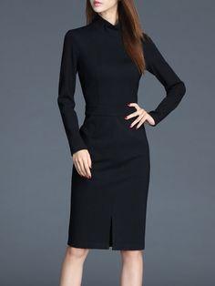 Shop Midi Dresses - Black Slit Sheath Wool Blend Elegant Midi Dress online. Discover unique designers fashion at StyleWe.com.