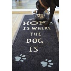 "1'8""x4'11"" Black Silver Dog Paw Word Art Printed Runner Rug Indoor Graphical Pattern Living Room Rectangle Carpet Graphic Art Themed Vibrant Color"