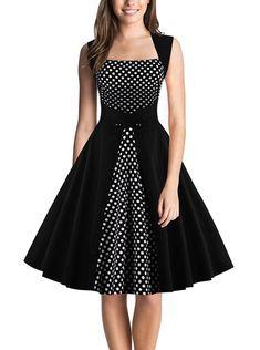 DealBang Women's Retro 1950s Classy Polka Dot Rockabilly Vintage Tea Dress S-5... - #1950s #Classy #dealbang #Dot #Dress #Polka #Retro #rockabilly #S5 #Tea #Vintage #women #Womens