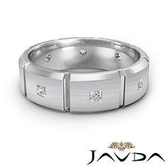 Princess Cut Diamond Mens Solid Ring Eternity Wedding Band 14k White Gold 0 50ct | eBay