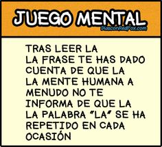 Juegos Mentales - Poné a Prueba tu Mente - Taringa! Wtf Funny, Funny Memes, Reto Mental, Brain Gym, Brain Training, Human Mind, Told You So, Sentences, Mindfulness