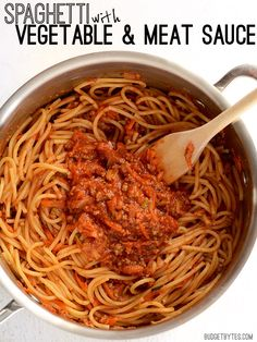 Spaghetti with Vegetable and Meat Sauce - BudgetBytes.com