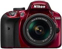 Nikon D3400 24.2 Megapixel Digital SLR Camera with Lens - 18 mm - 55 mm - Red -