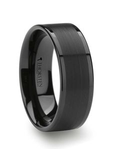 VULCAN Flat Black Tungsten Ring with Brushed Center