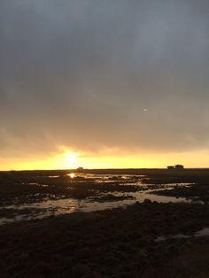 Solnedgang ved flyndersø, marts 2016