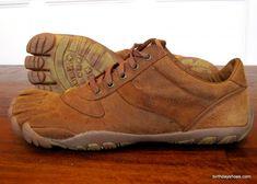 Vibram Leather Toe Shoes   The men's Vibram FiveFingers Trek LS in brown kangaroo leather - side ...