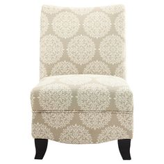 Upholstered slipper chair with medallion motif and kiln-dried wood frame.Product: ChairConstruction Material: Hig...