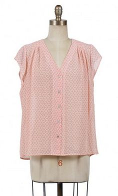 Absolutely Peachy Sheer Blouse - Coral