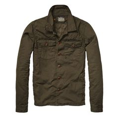 Scotch And Soda - Men's Army Green Shirt Jacket with Detachable Inner Quilted Vest